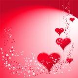 Rode harten op rode achtergrond Stock Foto