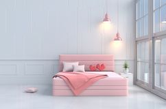 Rode harten op roze bed in slaapkamer van de Dag van liefdevalentine ` s Achtergrond en binnenland 3d geef terug Royalty-vrije Stock Fotografie