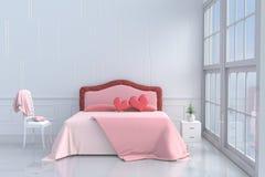 Rode harten op roze bed in slaapkamer van liefde op de Dag van Valentine ` s Royalty-vrije Stock Foto's