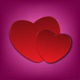 Rode harten op roze vectorkaart als achtergrond voor valentijnskaartendag Royalty-vrije Stock Foto's