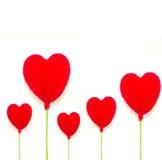 4 rode harten op witte backgroun Stock Afbeeldingen
