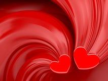 Rode harten over rode de dagachtergrond van zijdevalentijnskaarten stock illustratie