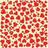 Rode harten verschillende grootte om achtergrondmalplaatje Halftone cirkelillustratie Stock Foto's