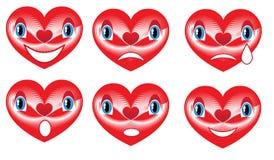 Rode harten voor de dag van de valentijnskaart Stock Afbeelding