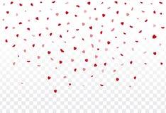 Rode hartenbloemblaadjes die op witte achtergrond voor Valentine ` s DA vallen Stock Afbeeldingen