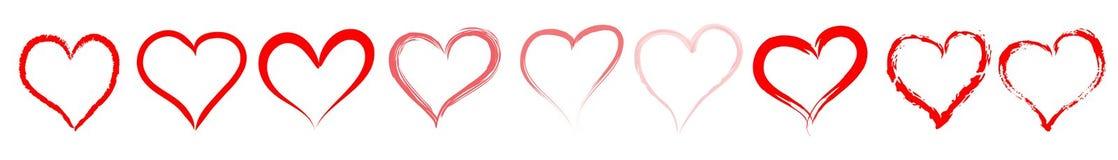 Rode hartenlijn/verdeler Royalty-vrije Stock Foto's