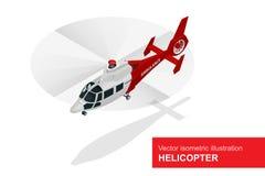 Rode helikopter Vector isometrische illustratie van Medische evacuatiehelikopter De lucht medische dienst Royalty-vrije Stock Afbeelding