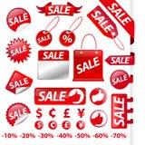 Rode het etiketinzameling van de Verkoop Stock Afbeelding