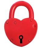Rode het Hangslot Romaanse Liefde Groot Valentine Day Concept van het Hartslot, Royalty-vrije Stock Afbeeldingen