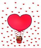 Rode het Hartballon van Valentine ` s van het liefdepaar Gelukkige Stock Fotografie