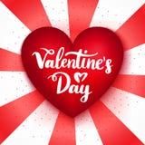 Rode het Hartprentbriefkaar van de valentijnskaartendag Stock Afbeelding