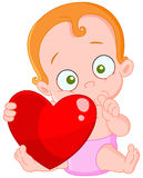 Rode het meisjesvalentijnskaart van de haarbaby Stock Afbeelding