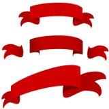 Rode het Pictogramreeks van de Lintbanner Stock Fotografie