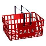 Rode het winkelen mand met woordverkoop Royalty-vrije Stock Foto