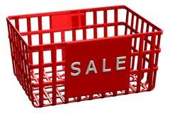 Rode het winkelen mand met woordverkoop Royalty-vrije Stock Foto's
