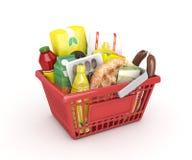 Rode het winkelen ramadan mand Royalty-vrije Stock Afbeeldingen