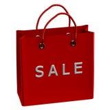 Rode het winkelen zak met woordverkoop Royalty-vrije Stock Afbeeldingen