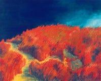 Rode heuvel in nacht vector illustratie