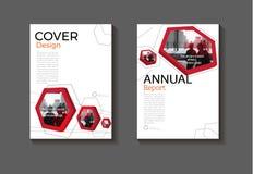 Rode hexagon abs van de het boekdekking van het achtergrond moderne dekkingsontwerp moderne Stock Afbeeldingen