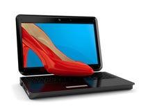 Rode hiel binnen laptop vector illustratie