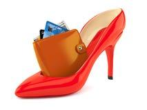 Rode hiel met portefeuille vector illustratie