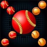 Rode honkbal en haftone stock illustratie