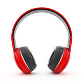 Rode hoofdtelefoons Stock Foto's