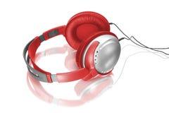Rode hoofdtelefoons Royalty-vrije Stock Fotografie