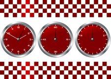 Rode horloges en chronografen Stock Foto's