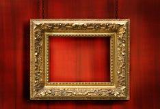 Rode houten achtergrond met frame Stock Afbeeldingen