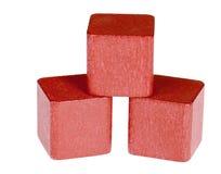 Rode houten kubussen Stock Foto