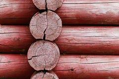 Rode houten logboeken Stock Foto's