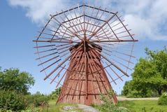 Rode Houten Windmolen Royalty-vrije Stock Afbeeldingen