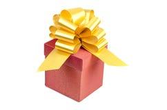 Rode huidige doos met gele decoratie Royalty-vrije Stock Foto's