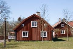 Rode huizen Stock Foto's