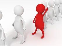 Rode individuele 3d mens in witte menselijke rij Royalty-vrije Stock Afbeeldingen