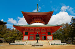 Rode Japanse Tempel in Koya San Japan Royalty-vrije Stock Foto's