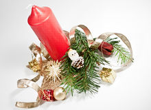 Rode kaars en Kerstmisdecoratie Royalty-vrije Stock Foto