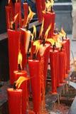 Rode kaarsen Stock Afbeelding