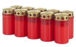 10 rode kaarsen voor mijn geheugen Royalty-vrije Stock Foto's