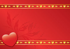 Rode kaart met gouden decor Royalty-vrije Stock Foto