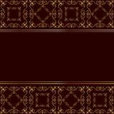 Rode kaart met gouden ornament Stock Afbeelding