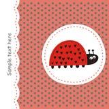 Rode kaart met lieveheersbeestje Stock Foto