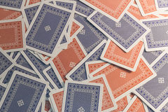 Rode Kaarten Blauwe kaarten Stock Fotografie
