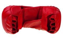 Rode karate bokshandschoenen. stock foto