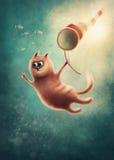 Rode kat die vissen vangen stock illustratie