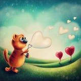 Rode kat die zeepbel maken vector illustratie