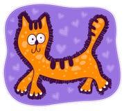 Rode kat met grote ogen Stock Fotografie