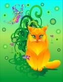 Rode kat met vlinder Stock Afbeelding