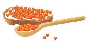 Rode kaviaar die op wit wordt geïsoleerdb vector illustratie